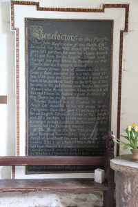 Charity Board in porch of St Mary's Church